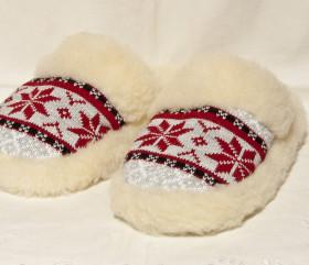Pantofle wełniane – wsuwane – gwiazda norweska