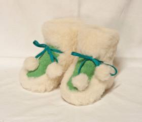 Pantofle wełniane, dziecięce – welurowe