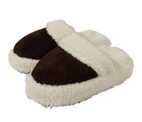 Pantofle wełniane, wsuwane, welurowe