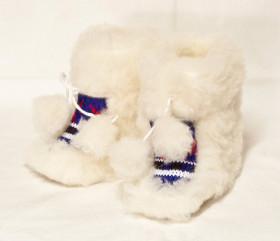 Pantofle wełniane – dziecinne – norweskie z pomponem