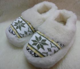 Pantofle wełniane, norweskie, piętki