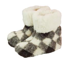 Pantofle wełniane – wysokie – krata