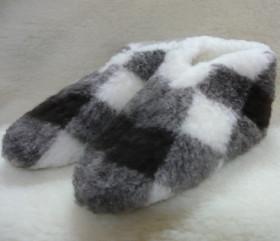 Pantofle wełniane – krata niska
