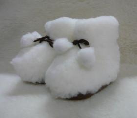 Pantofle wełniane – sznurówka dziecinna z pomponem