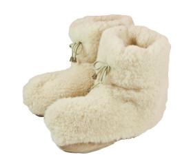 Pantofle wełniane – sznurówka biała