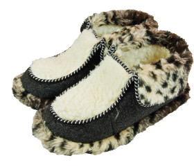 Pantofle filcowe – panterka jasna