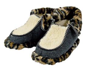 Pantofle filcowe – panterka ciemna