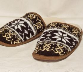 Pantofle wełniane norweskie, wsuwane, lamowane