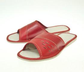 Pantofle skórkowe – damskie – czerwone