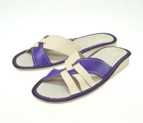 Pantofle skórkowe – damskie – fioletowe