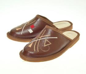 Pantofle skórzane – damskie – geometryczne wzory