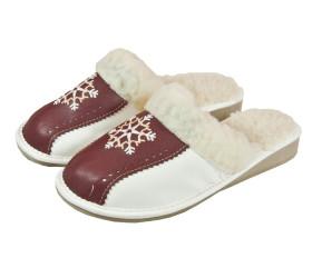 Pantofle skórkowe – damskie – śnieżka