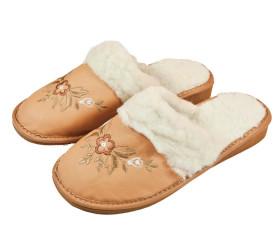 Pantofle skórkowe – damskie – pomarańczowe z haftem