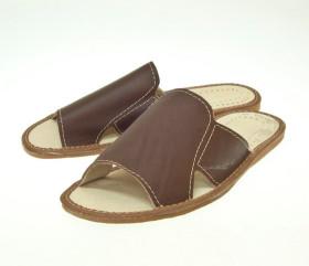 Pantofle skórkowe – męskie – brązowe