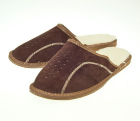 Pantofle skórzane – męskie – brązowe