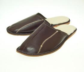Pantofle skórkowe – męskie – brązowe – wzorek