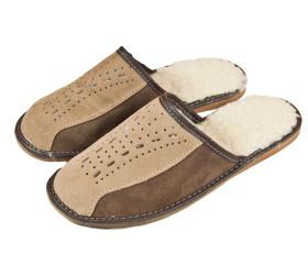Pantofle skórkowe – męskie – jasne