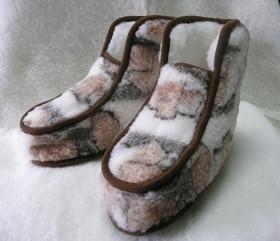 Pantofle wełniane wysokie – lamowane DEBIUT